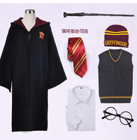 Cosplay Costume Set Robe Cloak Tie Scarf Wand Glasses Ravenclaw Gryffindor Hufflepuff Slytherin For Harri Potter