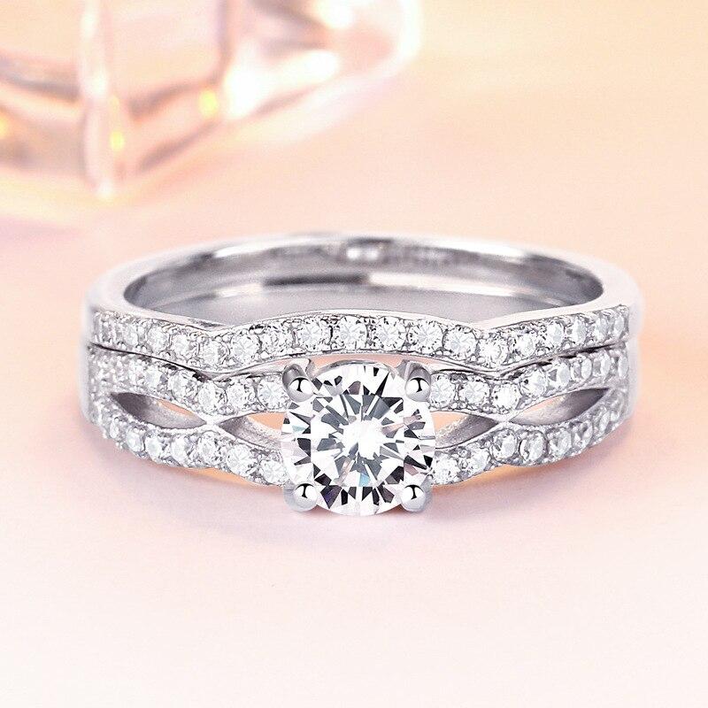 TONGLiN 925 argent Sterling 2 pcs/lot Double anneaux ensemble fiançailles mariage bande ensemble anneau pour femmes dames amant fête mariage