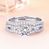 TONGLiN 925 Sterling Silver 2pcs/lot Double Rings Set Engagement wedding band set Ring For Women Ladies Lover Party Wedding