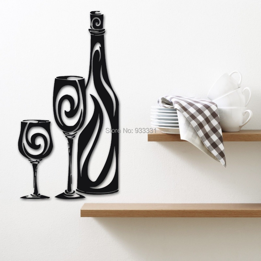 Wall Stickers Vinyl Decal Wine Bottle Kitchen Drinking Glasses - Vinyl stickers for glass bottles