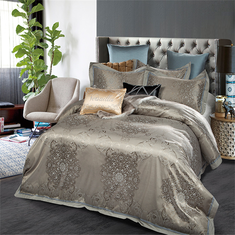 4pc Gray Gold Jacquard Bedding Sets Queen King Size Duvet