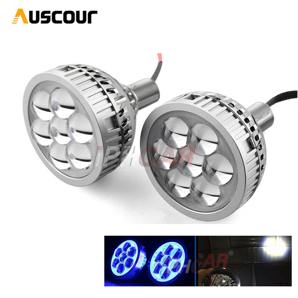 2pcs 3 0 inch LED headlight Far Shooting Projector Lens with Led Devil Eye white blue