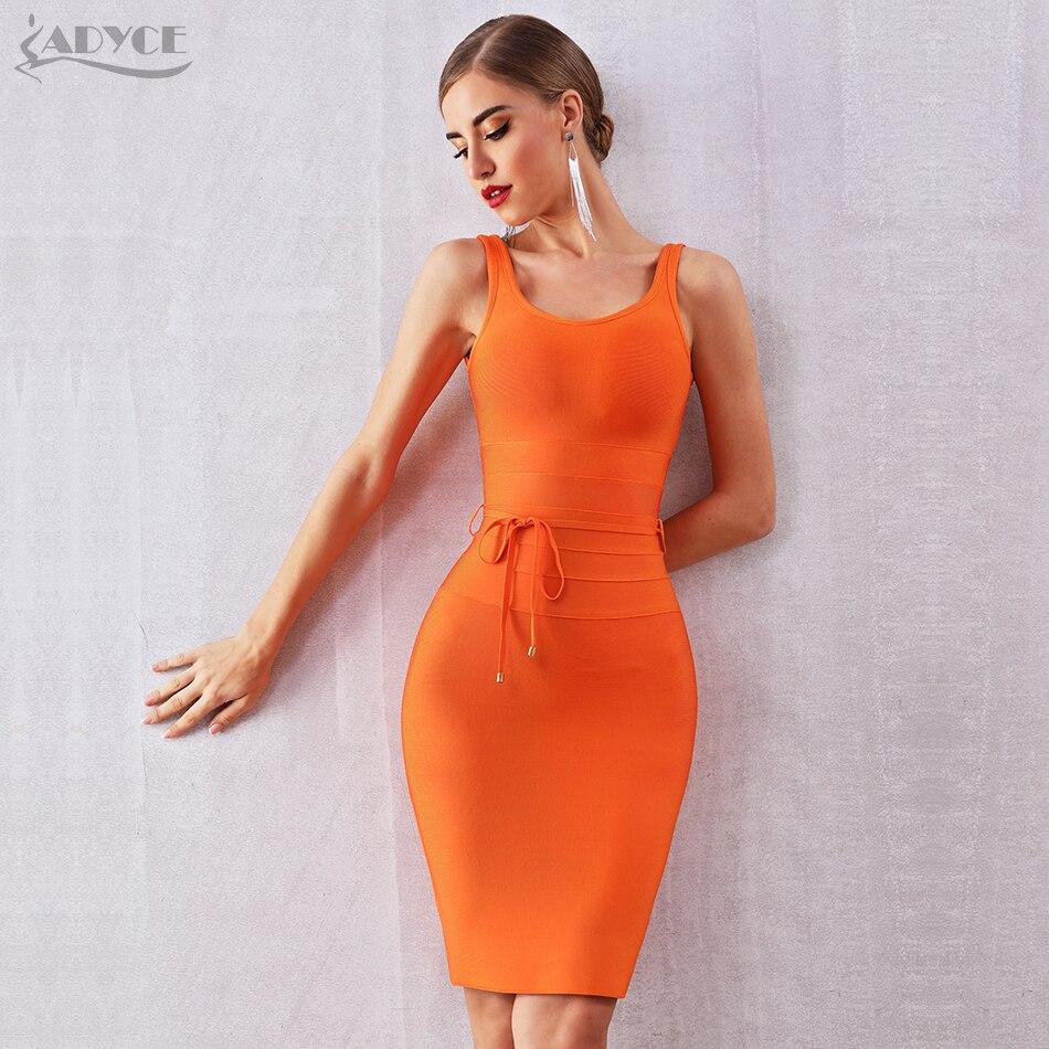 ADYCE 2019 New Summer Women Bandage Dress Vestidos Sexy Sleeveless Spaghetti Strap V Neck Mini Club