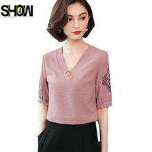Elegant Blouses Shirts Women Summer Half Sleeve Casual Tops Office Lady  Blue Green White Pink Striped V Neck Shirt Blouse 2606 59591c0f91f7