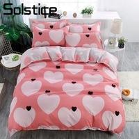 Solstice Home Textile King Queen Twin 3/4Pcs Bedding Suit Pink Heart Girl Kid Teenage Bed Linen Set Duvet Cover Pillowcase Sheet
