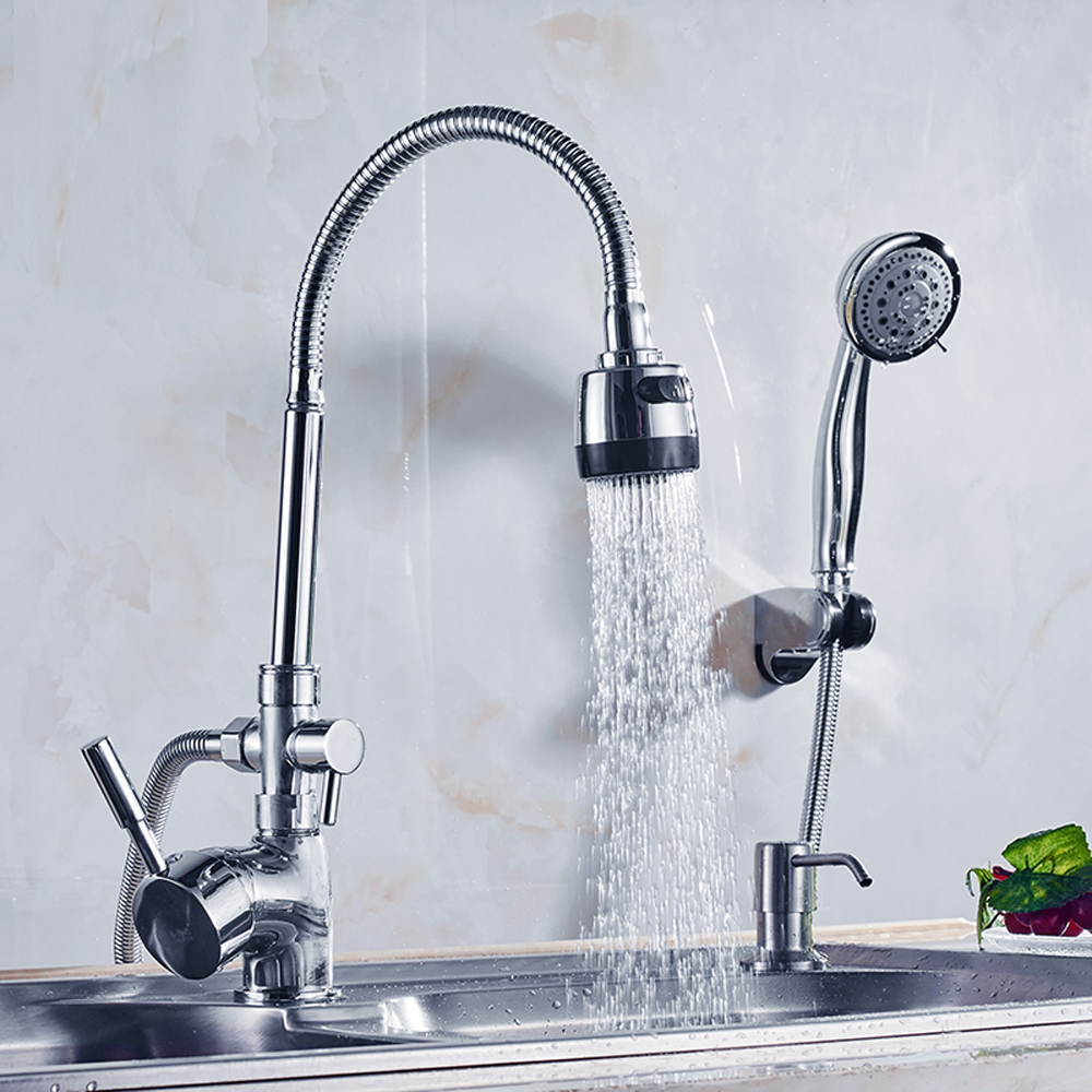 Copper Kitchen Mixer Cold and Hot Kitchen Tap Single Hole Water Tap dual use three way faucet shower set dishwasher tap mx412195