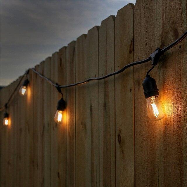 2 unids/lote 24ft 7 M Impermeable E26/E27 LED Luces de Cadena con 7 Fliament Claro Bombillas Jardín Patio Al Aire Libre patio trasero Cuerdas de Vacaciones