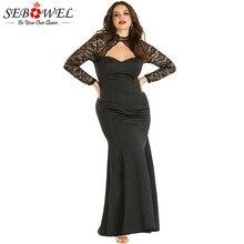 SEBOWEL Black Sheer Lace Long Sleeve Plus Size Party Dress for Woman 2018  Autumn fb4dd7783502