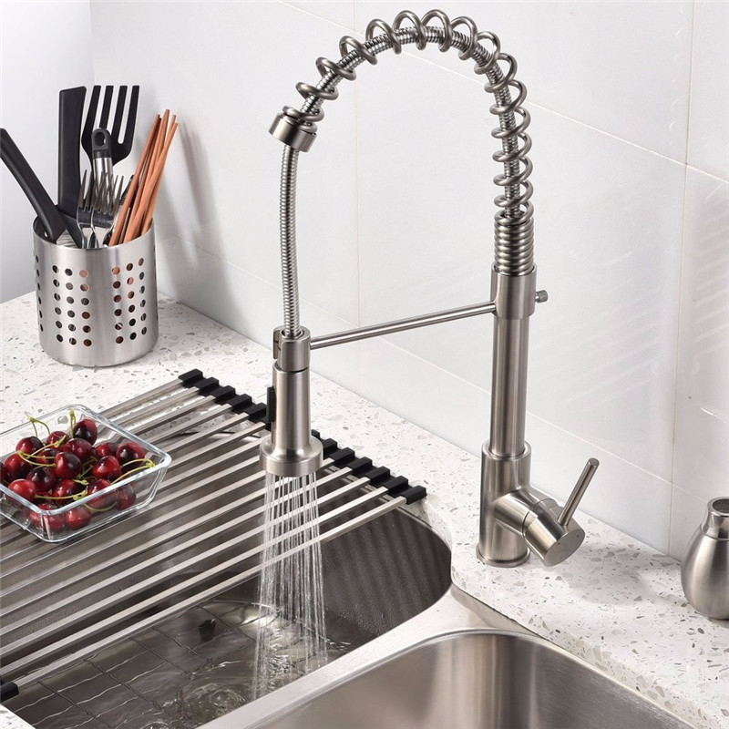Xueqin Luxury Kitchen Faucets Single Handle Hole Handle Swivel 360 Degree Pull Out Kitchen Tap With Swivel Spout Water Mixer Tap new pull out sprayer kitchen faucet swivel spout vessel sink mixer tap single handle hole hot and cold