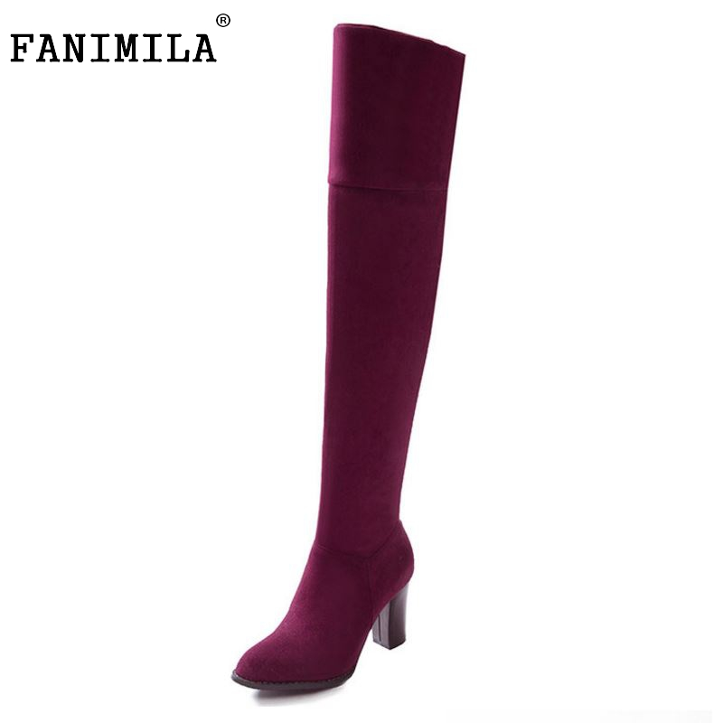 ФОТО Women Suede Leather Square Heels Over the Knee Boots Sexy Fashion Hing Heels Long Boots Shoes Woman Botas Size 32-43