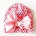 2017 Новорожденных Девочек Шляпа Упругой Ребенок Большой Лук Hollow Hat Бабочка Девочка Cap