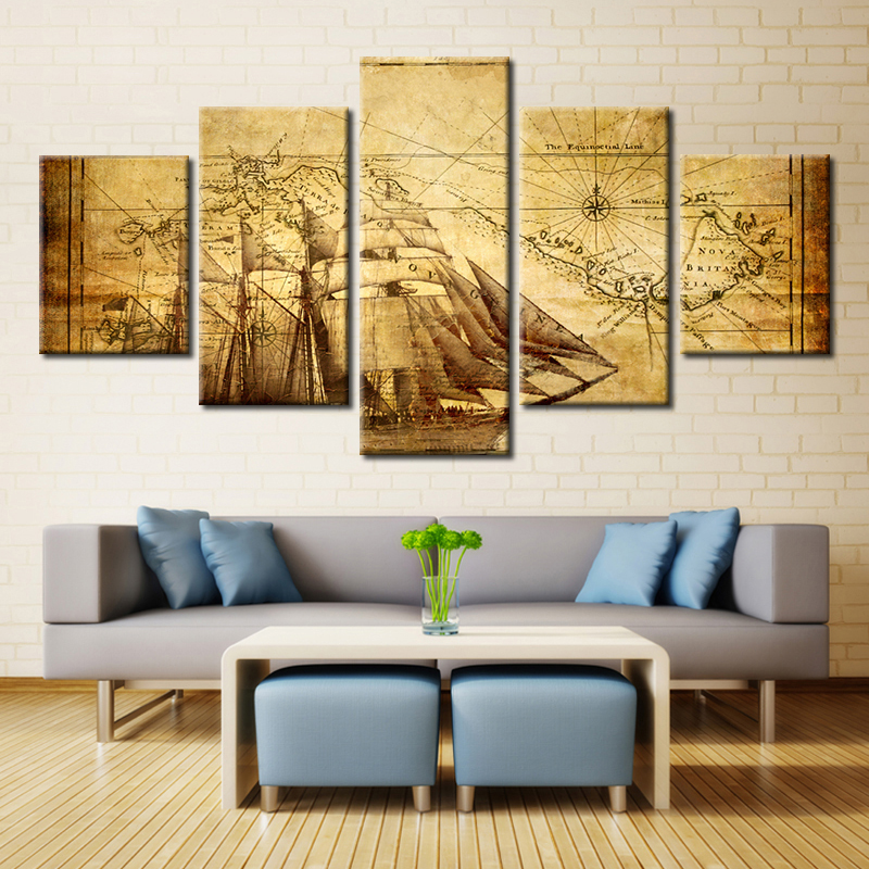 Marron image guide carte tableau nautique toile mur Art ...