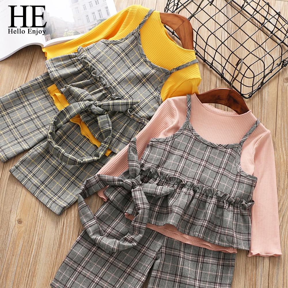 HE Hello Enjoy Children Clothing Sets Kid Autumn Winter Suit Girls Knit Condole Belt Plaid Tops+Wide Leg Pants 3PCS Outfits все цены