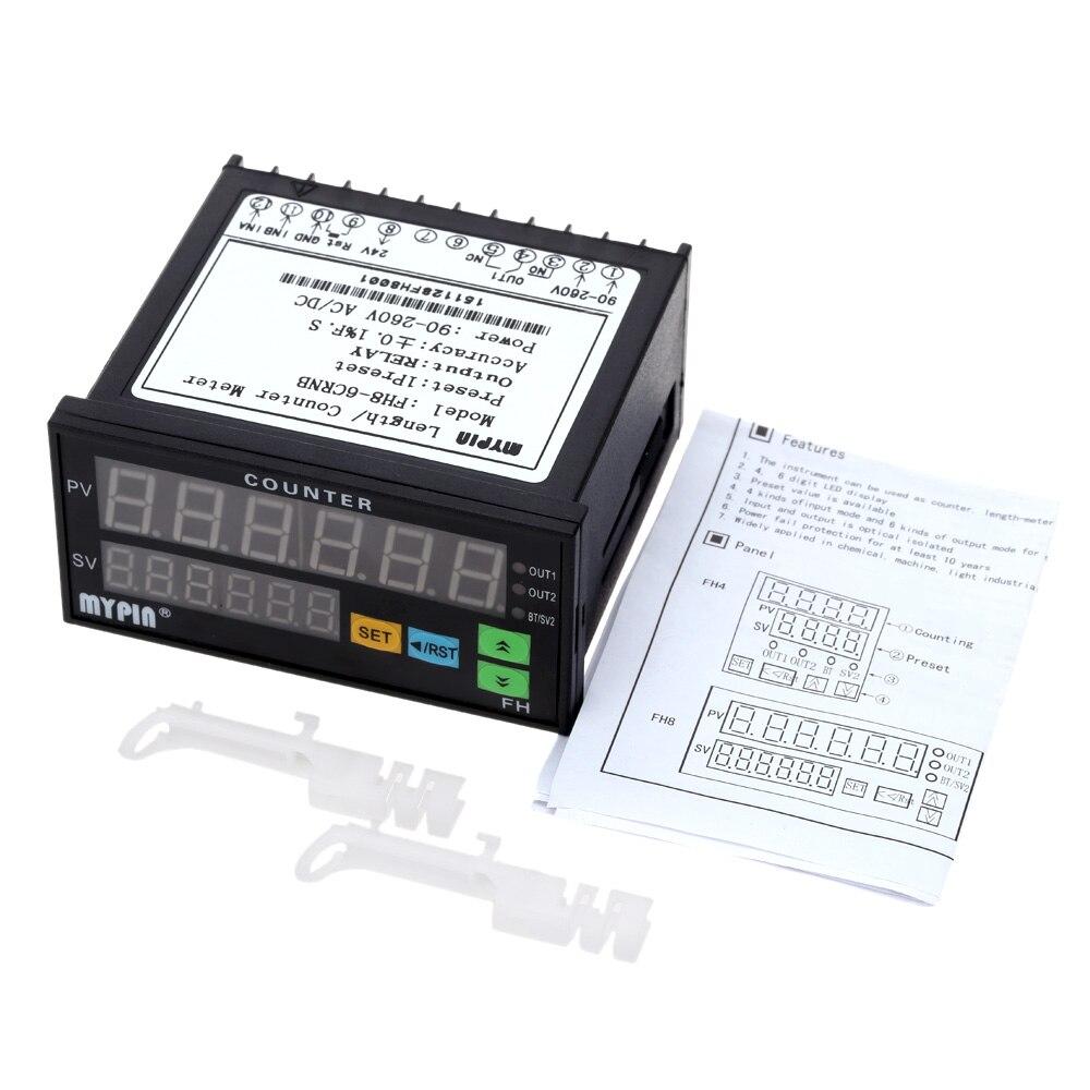 Compteur numérique Mini Longueur Compteur De Lot 1 Preset Relais De Comptage de Sortie Mètre Pratique Longueur Mètre 90-260 V AC/DC