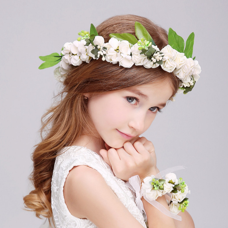 2 PCS children fashion Flower Wreath headdress beautiful  bracelets suit dress deserve to act the role of 2017 dimensions wreath of roses