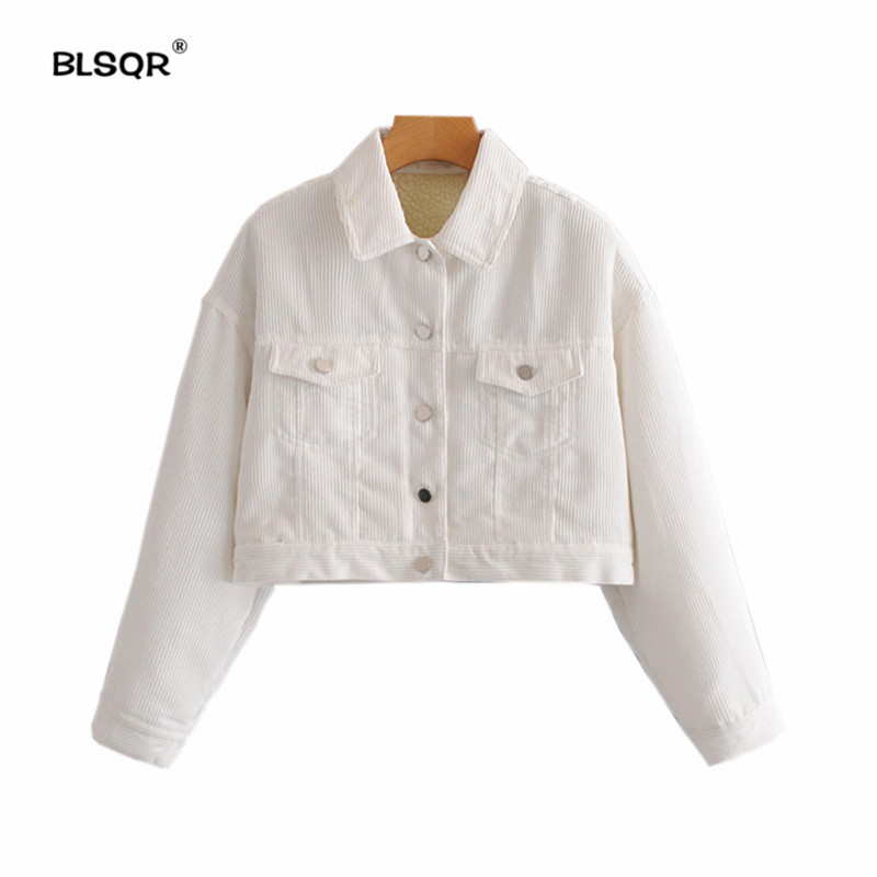 2018 Women Winter Thicken Warm Short   jacket   Coat Female Autumn   Basic     Jacket   Outerwear Slim Short Ladies Corduroy Tops