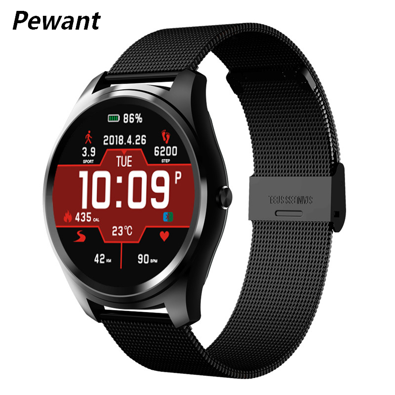 Pewant Smart Watch Men Heart Rate Blood Pressure Monitor Fitness Tracker Wristwatch Steel Strap Smartwatch For Xiaomi Huawei цены онлайн