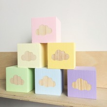 Nodic Style Wooden Building Blocks Craft Cloud Baby Room Decor Wood Nature  Educational Toys