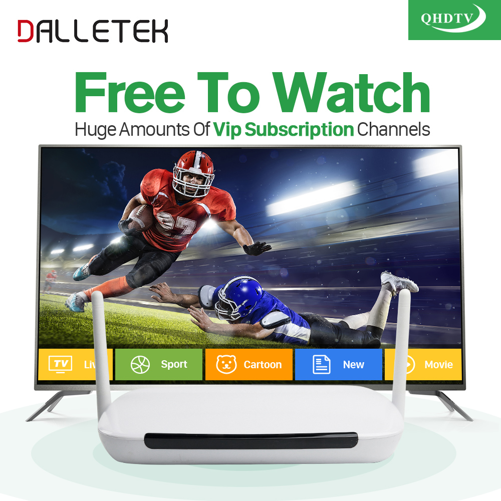 Dalletektv Android IPTV Set Top Box Tv Receiver 1300+ Arabic iptv Europe French Sport HD IPTV Subscription 1 Year QHDTV Account arabic iptv europe subscription 1 year qhdtv account 4k hd live sport channels iptv box android 6 0 tv box 2g 16g media player