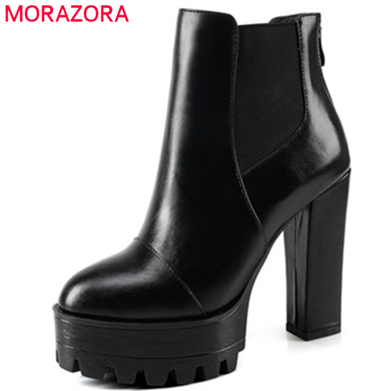 MORAZORA Plus size 34-44 ankle boots for women genuine leather boots top quality high heels shoes fashion boots solid zip plus size 36 46 genuine leather women ankle boots hiking shoes women work safety shoes