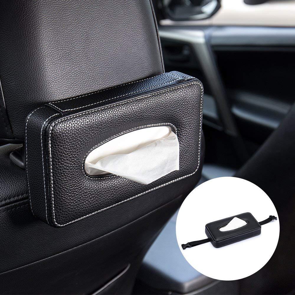 Boîtes à mouchoirs de voiture en cuir souple multi-usages Type pare-soleil siège arrière support suspendu de porte de voiture pour accessoires Auto universels