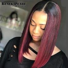 Preto pérola bob wig1b/30 ombre frente do laço perucas de cabelo humano para preto feminino em linha reta completa parte do meio das perucas de cabelo remy da malásia