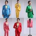 La nueva gama alta de 2016 hombres traje de boda de acogida estudio etapa traje de color trajes de Dos piezas
