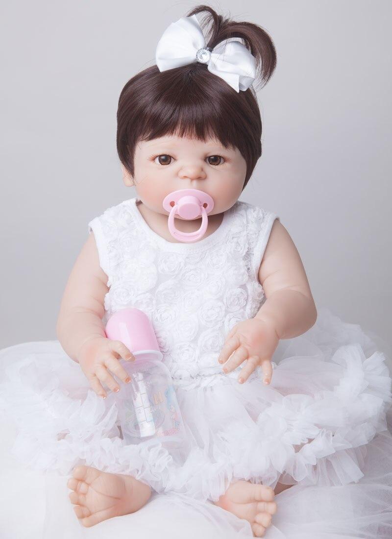 55cm New Full Body Silicone Reborn Baby Doll Toys Newborn Girl Baby Doll Christmas Gift Birthday Gift Bathe Toy Girls Brinquedos