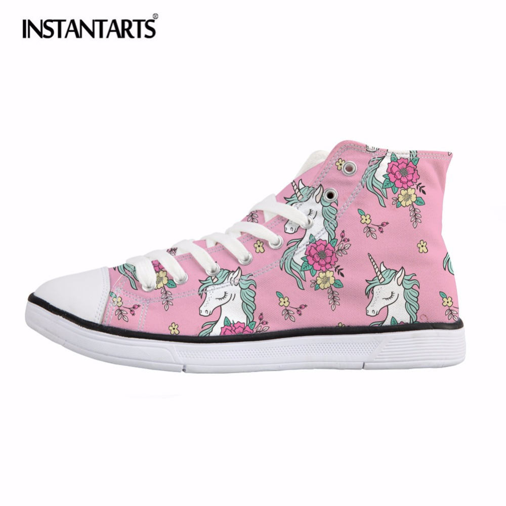INSTANTARTS Cute Pink Horse Print Women Canvas Shoes Classis High Top Vulcanize Shoes for Teenagers Spring Lacing Sneakers недорго, оригинальная цена