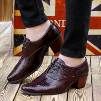 Mens 6cm High Heel Dress Shoes Fashion Croco Grain Pointed Toe Wedding Shoes Mans Heighten Gents