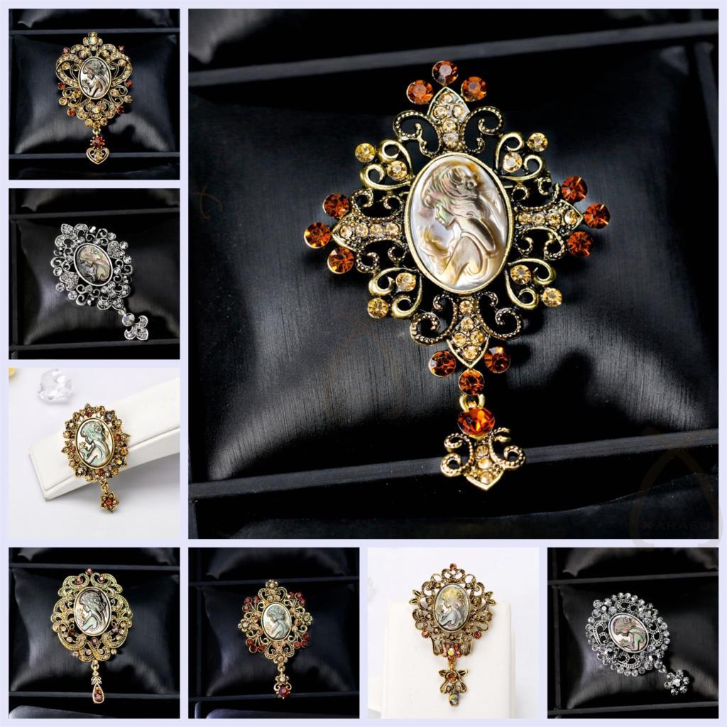 fe82f462acf3 Concha Natural Real antiguo oro plata colgante Vintage estilo gótico cabeza  Rhinestone Cameo broche para las mujeres broches Pin joyería