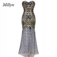Millyn Ideas Female Golden Sequins Strapless See through tulle Long night party Dress S M L XL