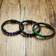 Модные черные кожаные браслеты для женщин винтажные ювелирные