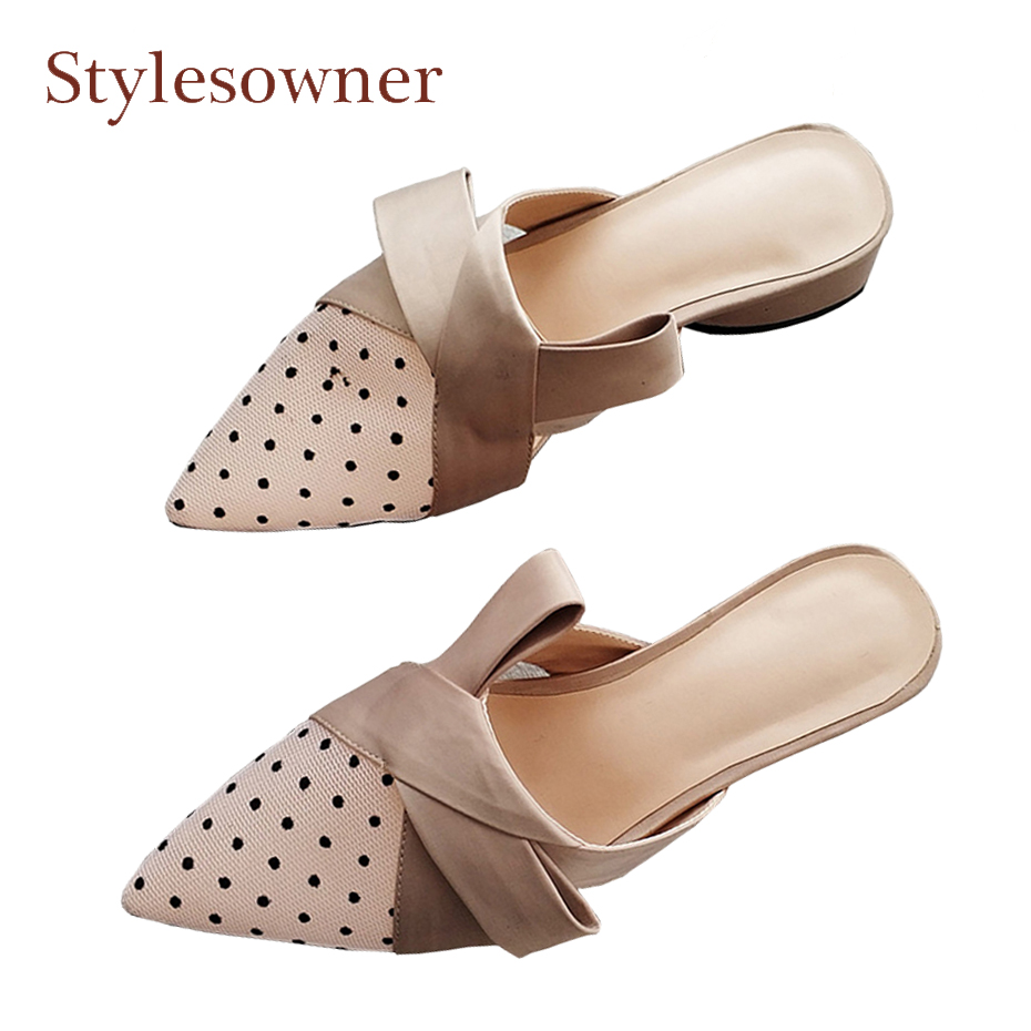 Stylesowner sexy polka dot mesh baotou slides ladies outside slippers silk bowtie patchworh 4cm chunky heel mules shoes famininoStylesowner sexy polka dot mesh baotou slides ladies outside slippers silk bowtie patchworh 4cm chunky heel mules shoes faminino