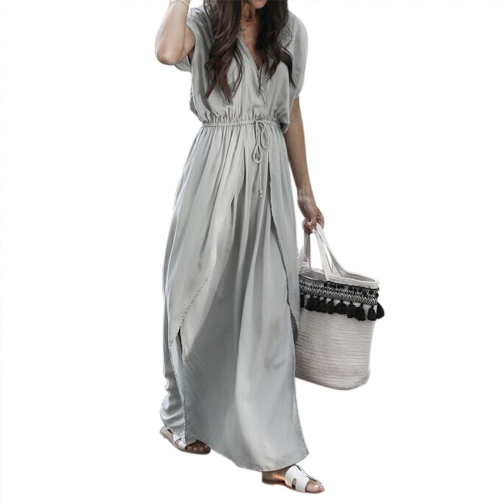 Summer Women Sexy V-neck Straps With Long Grey Solid Color Sashes Loose Causal Beach Dress Female
