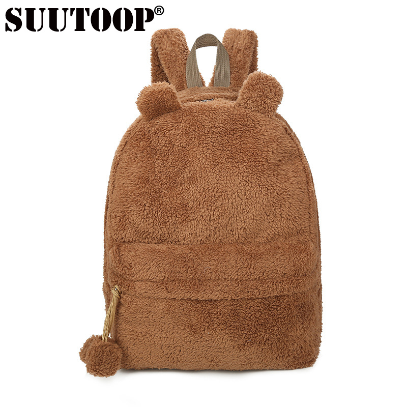 Suutoop Women Backpack School Bag Teenage Backpacks For Girls Cute Fur Korea Female Laptop Notebook Bags Women Hairy Bear Bag
