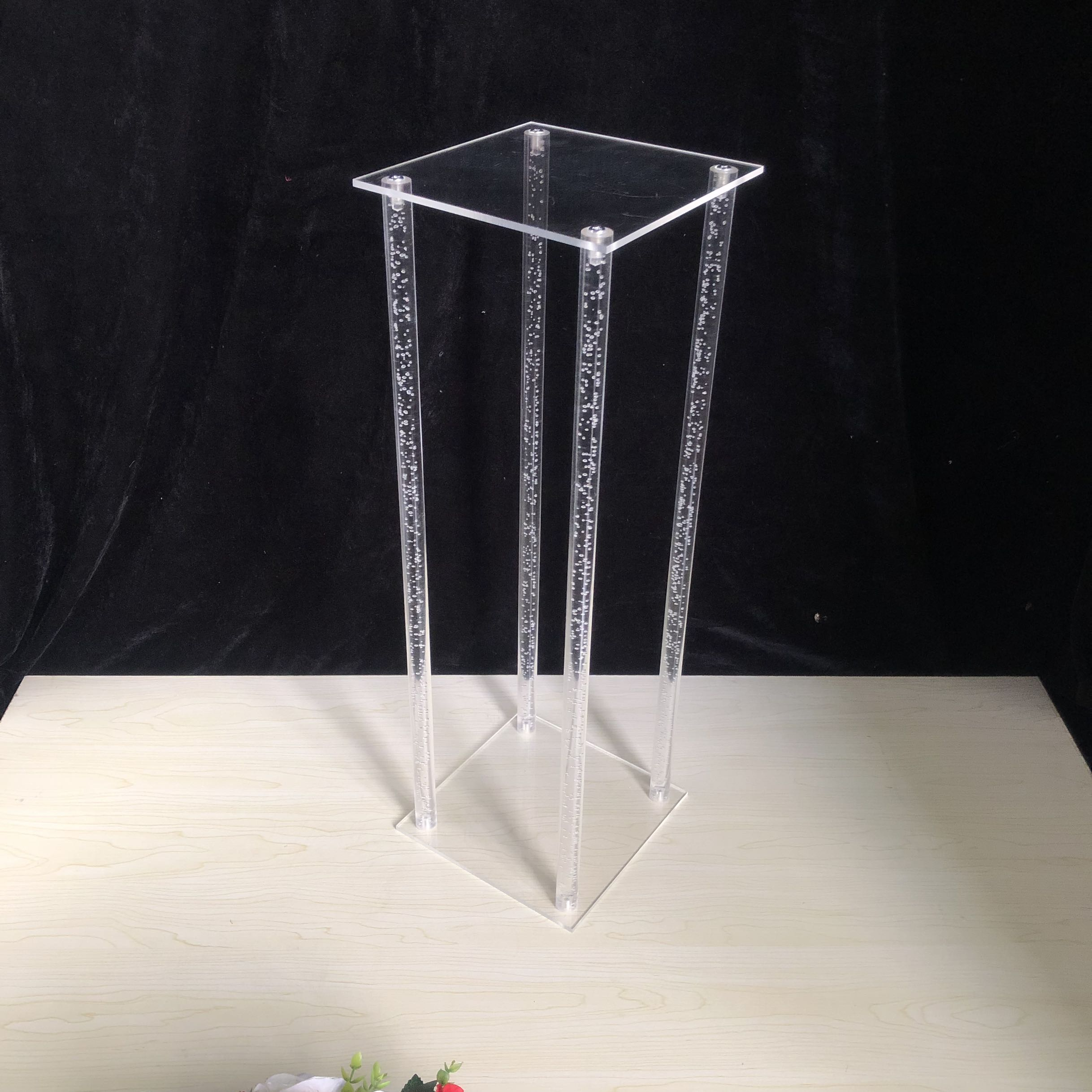"""10/"""" ACRYLIC PLASTIC SQUARE VASE CLEAR 25cm Round Flower Table Wedding Event"""