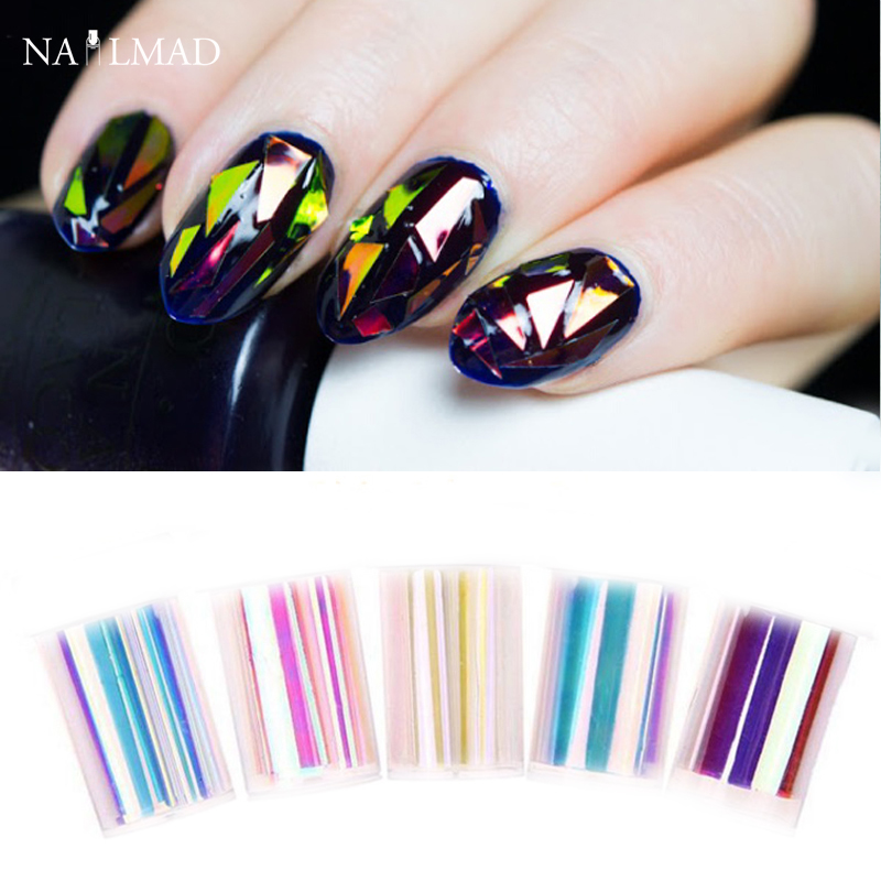 Aliexpress buy 5pcs shiny laser effect nail foils aliexpress buy 5pcs shiny laser effect nail foils holographic glass foils nail art transfer sticker rainbow light paper decorations from reliable nail prinsesfo Gallery