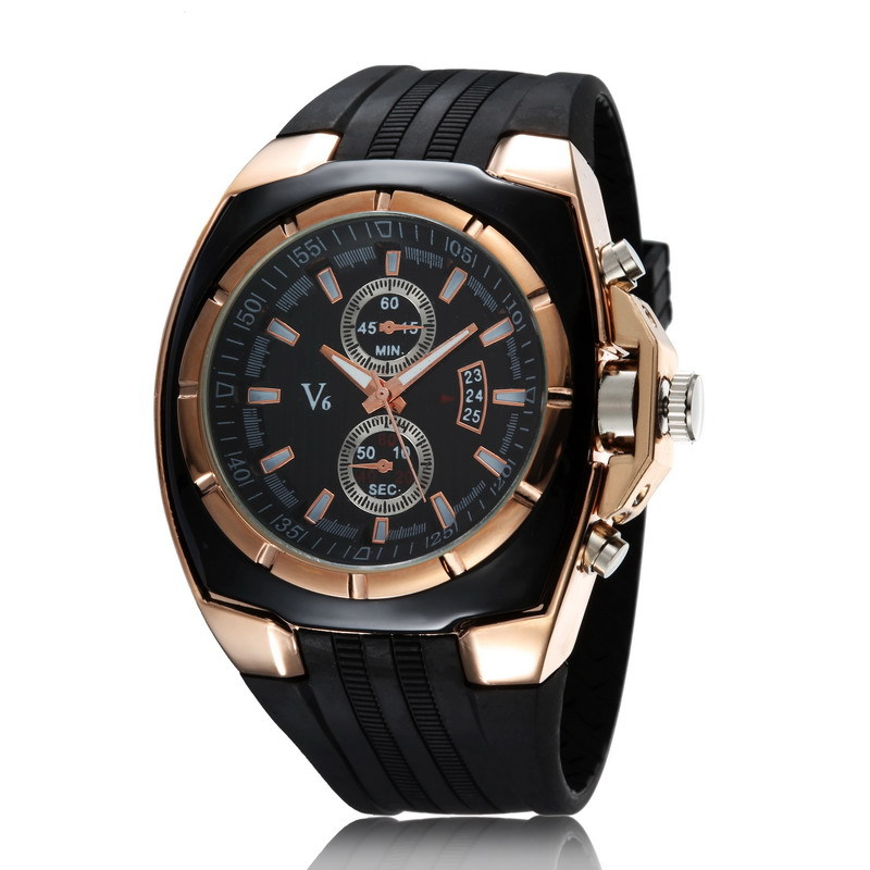 V6 Brand Top Luxury Men Watch Rubber Band Quartz Watches Golden Case Simple Man Wristwatches Fashion Big Face Dial Clock Speed fashion simple style top luxury brand longbo watches men stainless steel wristwatches quartz watch big gold dial clock man watch