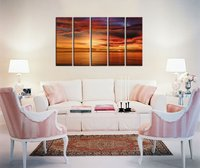 Large Canvas Wall Art Sunset Beach Painting Artwork 5 Piece Nature Canvas Art Contemporary Pictures Sunset Sea Drop shipping
