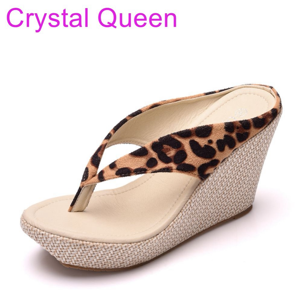 78b6533b8422f US $15.86 25% OFF|Crystal Queen Leopard Wedges Sandals Slippers Flip Flops  For Women Summer Beach Sandals Bohemia Dress Shoes Plus Size Women-in High  ...