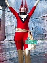 Free Shipping DHL 2017 New Red X- Men Jean Grey Phoenix Superhero Costume Spandex Catsuit Halloween Cosplay Costume