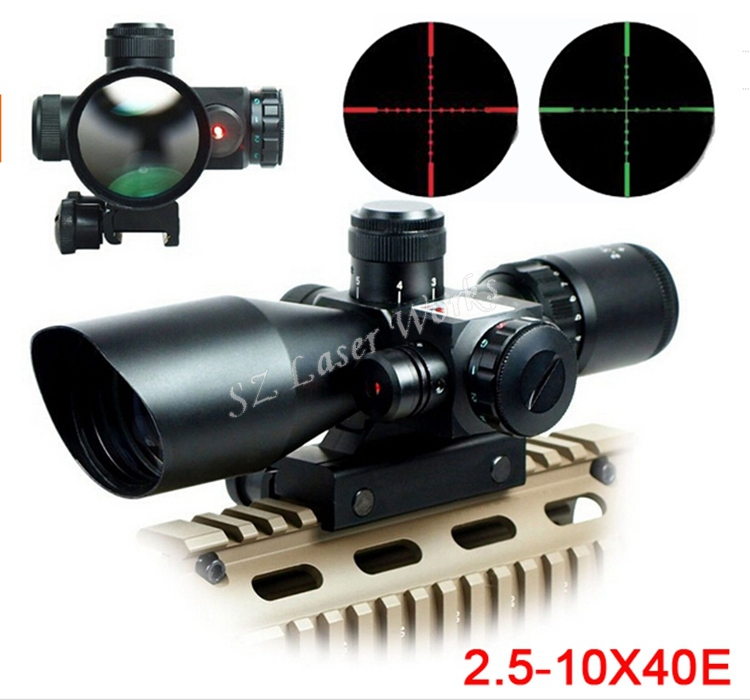 Hunting 2.5-10x40 Tactical Rifle Scope with Red Laser Dual illuminated Mil-dot w/ Rail Mount Gun Sight scope Free Shipping ship from us new 3 9x40 illuminated rifles scope with red laser