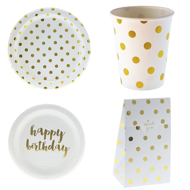 Happy Birthday Disposable Tableware Gold Dot Paper Plates Cup Gift Snack Bags Birthday Party Wedding Carnival  sc 1 st  AliExpress.com & Happy Birthday Disposable Tableware Gold Dot Paper Plates Cup Gift ...