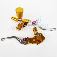 Gold Motorcycle Left&Right Hydraulic Brake & Clutch Master Cylinder Lever With Oil Pump Fit CRF KXF YZF WR RMZ EXC Free shipping