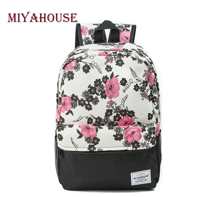 High Quality Female Backpacks Vintage Floral Print Bookbags Canvas School Bag For Teenagers Travel Leisure Laptop Backpack high quality british style vintage canvas backpack rucksack school bags for teenagers travel bag backpacks for laptop