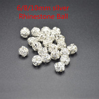50pcs Lot Round Pave Disco Ball Beads Rhinestone Ball Crystal Spacer Beads For DIY Jewelry Findings