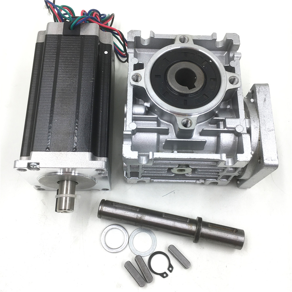 Worm Geared Nema23 27Nm Stepper Motor Ratio 15 1 L112mm 4 2A 2ph Speed Reducer Kit