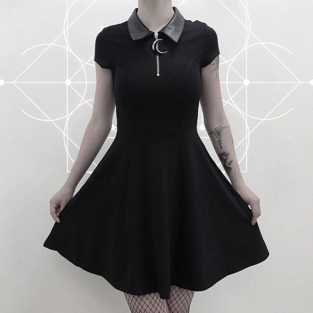 Two Faced 3//4 Sleeve Dress goth rockabilly kitty 13 S UK 10 Banned Apparel