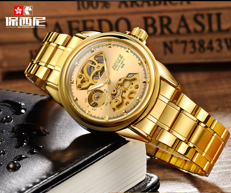 HTB1lrZ4blGw3KVjSZFwq6zQ2FXal Men's Watches Automatic Mechanical Gold Watch Male Skeleton Dial Waterproof Stainless Steel Band Bosck Sports Watches Self Wind